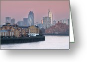 Canary Greeting Cards - London City View Down Thames Greeting Card by SarahB Photography