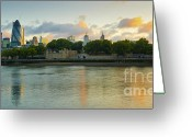 Tower Of London Greeting Cards - London Cityscape Sunrise Greeting Card by Donald Davis