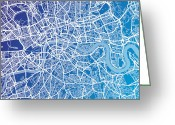 London England  Digital Art Greeting Cards - London England Street Map Greeting Card by Michael Tompsett