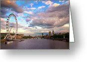 Arts Culture And Entertainment Greeting Cards - London Eye Evening Greeting Card by Kapuk Dodds