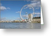 Arts Culture And Entertainment Greeting Cards - London Eye Greeting Card by Paul Biris