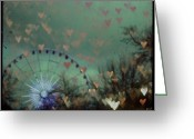 Grey Blue Greeting Cards - London Ferris Wheel Greeting Card by Georgia Fowler