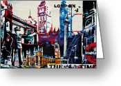 London Underground Mixed Media Greeting Cards - London Greeting Card by Gerald Herrmann