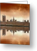 London England  Digital Art Greeting Cards - London Greeting Card by Jaroslaw Grudzinski