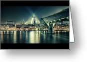 London Greeting Cards - London Landmarks By Night Greeting Card by Araminta Studio - Didier Kobi