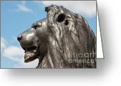 Trafalgar Greeting Cards - London Lion Greeting Card by Andrew  Michael