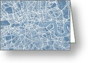 Road Map Greeting Cards - London Map Art Steel Blue Greeting Card by Michael Tompsett