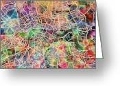 Road Map Greeting Cards - London Map Art Watercolor Greeting Card by Michael Tompsett