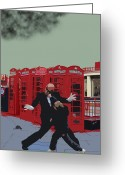 Mouse Greeting Cards - London Matrix Punching Mr Smith Greeting Card by Jasna Buncic