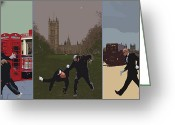 Kid Photo Greeting Cards - London Matrix triptych Greeting Card by Jasna Buncic