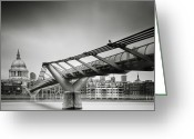 Gb Greeting Cards - London Millenium Bridge Greeting Card by Nina Papiorek