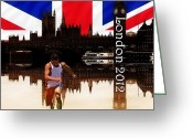 Athletes Greeting Cards - London Olympics 2012 Greeting Card by Sharon Lisa Clarke