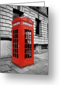 Selective Color Greeting Cards - London Phone Booth Greeting Card by Rhianna Wurman
