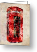 England. Greeting Cards - London Phone Box Urban Art Greeting Card by Michael Tompsett