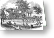 Schoolgirl Greeting Cards - London Playground, 1843 Greeting Card by Granger