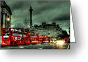 Bus Greeting Cards - London Red buses and Routemaster Greeting Card by Jasna Buncic