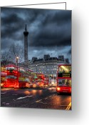 Bus Greeting Cards - London red buses Greeting Card by Jasna Buncic