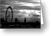 Big Ben Greeting Cards - London silhouette Greeting Card by Jorge Maia