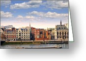 Europe Greeting Cards - London skyline from Thames river Greeting Card by Elena Elisseeva