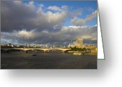 City And Colour Greeting Cards - London  Skyline Waterloo  Bridge  Greeting Card by David French