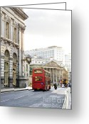 Bus Greeting Cards - London street with view of Royal Exchange building Greeting Card by Elena Elisseeva