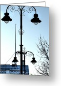 British Royalty Greeting Cards - London Streetlamps Greeting Card by Deborah Smolinske
