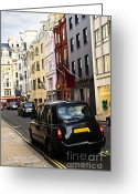 Old Street Greeting Cards - London taxi on shopping street Greeting Card by Elena Elisseeva