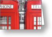 Two By Two Greeting Cards - London Telephones Greeting Card by Richard Newstead