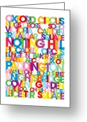 Bus Roll Greeting Cards - London Text Bus Blind Greeting Card by Michael Tompsett
