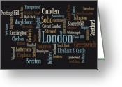 London Greeting Cards - London Text Map Greeting Card by Michael Tompsett