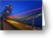 Nightshot Greeting Cards - London Tower Bridge Greeting Card by Nina Papiorek