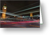 Clock Greeting Cards - London Traffic Greeting Card by Mark A Paulda