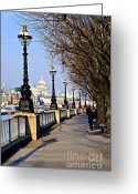 Cathedral Greeting Cards - London view from South Bank Greeting Card by Elena Elisseeva