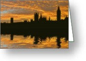 Fire Houses Greeting Cards - Londons Burning Greeting Card by Sharon Lisa Clarke