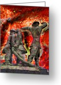 Aflame Greeting Cards - Londons World War 2 Fireman Greeting Card by Steve Taylor