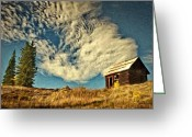 Cabins Greeting Cards - Lone Cabin Greeting Card by Jeff Kolker