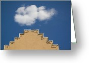 Adobe Architecture Greeting Cards - Lone Cloud Over Parapet of Building Greeting Card by Thom Gourley/Flatbread Images, LLC