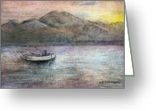 Lakes Pastels Greeting Cards - Lone Fisherman Greeting Card by Arline Wagner