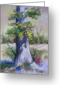 Oak Pastels Greeting Cards - Lone Oak Greeting Card by Barbara Richert
