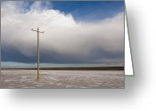 Horizontal Lines Greeting Cards - Lone Power Pole Greeting Card by Thom Gourley/Flatbread Images, LLC
