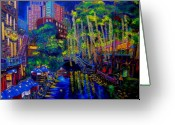 Riverwalk Greeting Cards - Lone Star Evening Greeting Card by Patti Schermerhorn