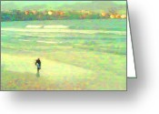 Surf Art La Jolla Digital Art Greeting Cards - Lone Surfer Evening Greeting Card by David Rearwin