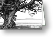 Nostalgic Pyrography Greeting Cards - Lone tree Bench and Volcano Greeting Card by Yurix Sardinelly
