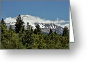 Volcano Greeting Cards - Lonely as God and white as a winter moon - Mount Shasta California Greeting Card by Christine Till