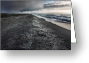 South Carolina Beach Greeting Cards - Lonely Beach Greeting Card by Matt  Trimble