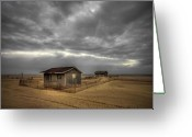 Shed Greeting Cards - Lonely Beach Shacks Greeting Card by Evelina Kremsdorf