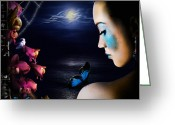 Violet Blue Greeting Cards - Lonely Blue Princess and the villains Greeting Card by Alessandro Della Pietra