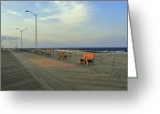 Park Benches Greeting Cards - Lonely Boardwalk Greeting Card by Jeff Stein