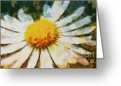 Postwork Greeting Cards - Lonely Daisy Greeting Card by Jutta Maria Pusl