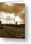 Urbano Greeting Cards - Lonely Street Greeting Card by David Cucalon